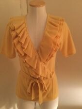 Catherine Malandrino Sweater Wrap Yellow Short Sleeve 100 % Cashmere Size M