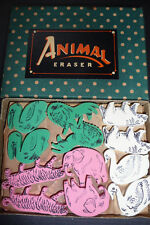 48 Wonderful ANIMAL Erasers - Vintage Shop Display Box - Made in Japan