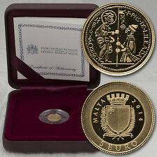 5 EURO MÜNZE COIN MALTA ZECCHINO GOLD PP PROOF 2014 KLEINSTE GOLDMÜNZE DER WELT