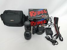 Canon Rebel T3i EOS 600D DSLR Camera Bundle W/ 2 Lenses 18-55 mm, 55-250mm, MORE