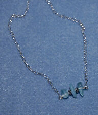"18"" Bali Sterling Silver Genuine Surf Tumbled Muli Aqua Sea Glass Necklace"