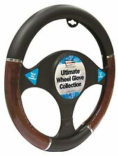 Jaguar X-Type Wood & Black Walnut Effect 37-39cm Steering Cover