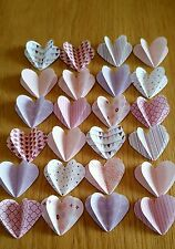 "24 3D Paper Hearts 1.5"" Pretty In Pink Scrapbooking / Cardmaking / Crafts."