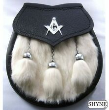 KILT SPORRAN MASONIC CREST WHITE RABBIT FUR & BLACK LEATHER SEMI-DRESS SPORRAN