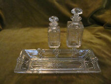 ensemble de toilette cristal baccarat floral artdeco (crystal toiletries set) 3p