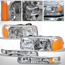 FOR 1999/2000+ GMC SIERRA/YUKON CHROME HEADLIGHTS w/BUMPER SIGNAL LAMPS AMBER DY