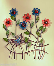 3D Blooming Spring Flower Bouquet Butterfly Metal Wall Sculpture Art Decor