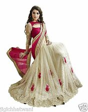 INDIAN ETHNIC BOLLYWOOD PINK CREAM DESGINER WITH EXCLUSIVE BORDER SAREE SARI