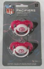 NFL NIB PACIFIER - SET OF 2 - PITTSBURGH STEELERS - PINK - SOLID ON CARD