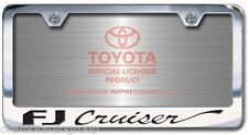 NEW Toyota FJ Cruiser Chrome License Plate Frame with Engraved Script Letters