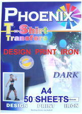 IRON ON T TEE Shirt DARK Transfer Paper A4 50 Sheets ink jet printers