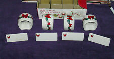 Vintage Set-Ceramic Napkin rings/holders & Placecards/namecards 4 each-Christmas