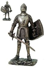 MEDIEVAL KNIGHT WITH ARMOR HELMET SWORD SHIELD FIGURINE STATUE CHIVALRY FIGURE