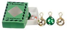 Spotted Christmas Baubles With Green Box, Dolls House Xmas Decorations,