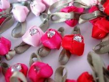 36 Pink+Red Satin Ribbon Rose Flower Crystal Rhinestone Jewel Trim/Craft/Bow F52