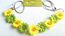New!! HANDMADE yellow green Daisy Headband Daisy Floral Hairband Crown