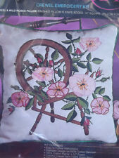 """Vtg NIP Pretty 14"""" SPINNING WHEEL & ROSES PILLOW Floral Crewel Embroidery Kit"""