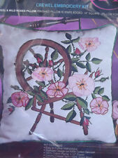 "Vtg NIP Pretty 14"" SPINNING WHEEL & ROSES PILLOW Floral Crewel Embroidery Kit"