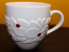 2004 Starbucks Coffee Large Mug with Raised Relief White Flower & Red Berry