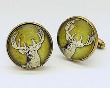 STAG DEER Animal Vintage Inspired Bronze Colour MENS CUFFLINKS Great Gift - C014