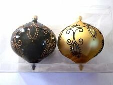 2 Black & Gold Glitter Finial Shatter Resistant Christmas Ornament Decoration