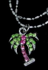 New Palm Tree Pink Green Austrian Crystal Charm Silver Tone Anklets P934