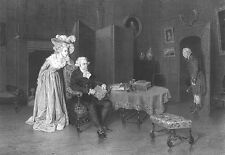 FATHER OPENS LOVE LETTER SENT TO PRETTY GIRL DAUGHTER ~ 1873 Art Print Engraving