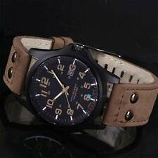 New Mens Fashion Sport Watches Men Military Leather Band Quartz Wrist Watch B TR