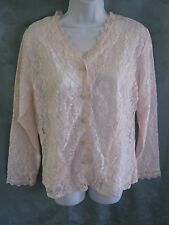 Vintage Bedford Fair Lace Bed Jacket Size Medium PInk & White Button Front