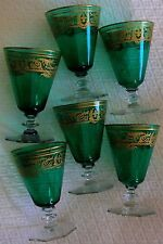 ANTIQUE FRENCH STEMWARE 6 EMERALD GREEN GOLD OVERLAY WINE GLASSES FLEUR DE LIS