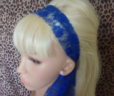 NEW ROYAL BLUE LACE 50s VINTAGE STYLE HEADBAND HAIR SCARF SELF TIE BOW 80s RETRO