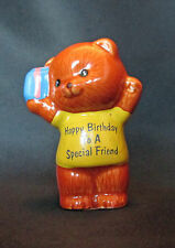 Vintage Russ Berrie Figurine Bear 5618 Happy Birthday To A Special Friend Gift