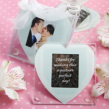 100 - Heart Design Glass Photo Coaster Wedding Favors - sets of 2