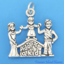 ADOPT A KID CHILD ADOPTION FAMILY .925 Sterling Silver Charm