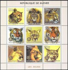 Guinea 2002 Lions/Tigers/Wild Cats/Animals/Nature/Wildlife/Rotary 9v sht (s4917)