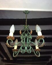 Antique Vintage French Wrought Iron Chandelier Ceiling Light 1940's