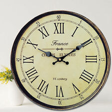 Antique Clock Wall Rustic Vintage Style Wooden Round Clocks Large Art Home Decor