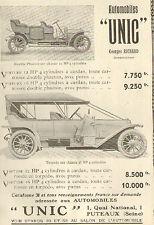 92 PUTEAUX AUTOMOBILES UNIC TORPEDO PHAETON PUBLICITE 1910