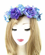 Blue Lilac Hydrangea Rose Flower Headband Hair Crown Wreath Festival Garland 714