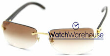 Cartier Buffalo C Decor Horn Temples Brown Lenses Sunglasses T8306000 New Orig