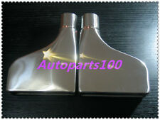 """2pcs 2.3"""" 2.3inch inlet Stainless rectangle outlet rolled Exhaust Tip 10"""" long"""