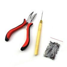 Feather Hair Extensions Tool Kit Pliers Hook & 100Pcs Micro Silicone Link Beads