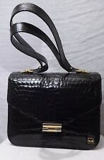 Fabulous Black Vintage Genuine Crocodile Skin Grab Bag-Mint Condition