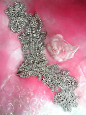 XR157 Black Backing Applique Crystal Rhinestone Silver Beaded Dance Patch 13""