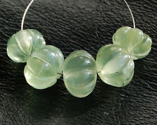 Natural Green Prehnite Carved Pumpkin Semi Precious Gemstone Beads