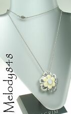 PILGRIM Long Necklace FLOWER TWO White/Silver Swarovski BNWT Last One!