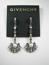 Givenchy PETR Faux Pearl Crystal Flower Cluster Linear Earrings NWT MSRP $55