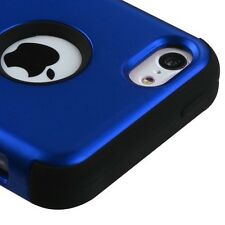 For iPhone 5C - HARD & SOFT RUBBER HYBRID HIGH IMPACT SKIN CASE COVER BLUE ARMOR