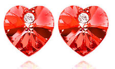 Romantic Deep Red Crystal Heart Shaped Stud Earrings Studs E382