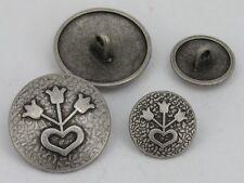 10 Botones de metal Botones 15mm plata envejecida 07.23b